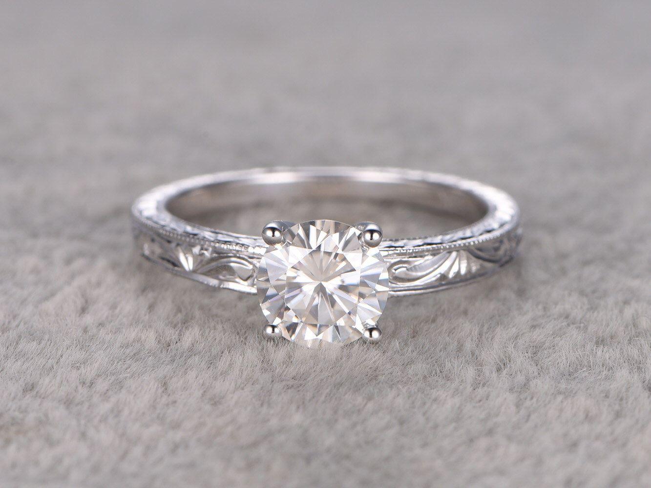 Ct brilliant moissanite engagement ring white goldsolitaire
