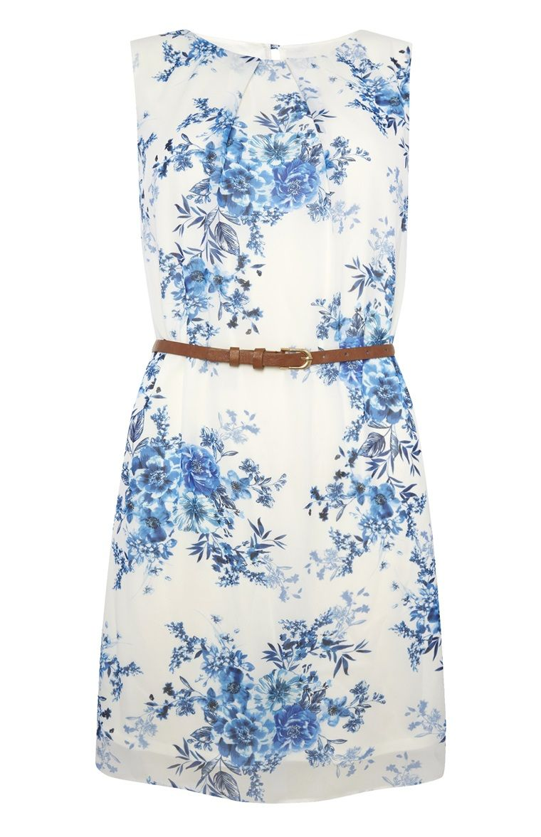blue floral chiffon sleeveless dress | dressy summer dresses