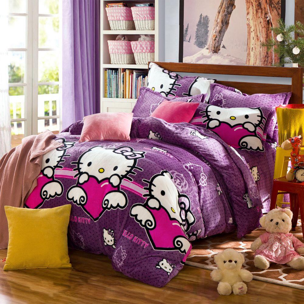 Pink hello kitty bedsheet - Luxury Girls Bedroom With Purple Hello Kitty Pattern Luxury Girls Bedding Sets Brown Giraffe Pattern