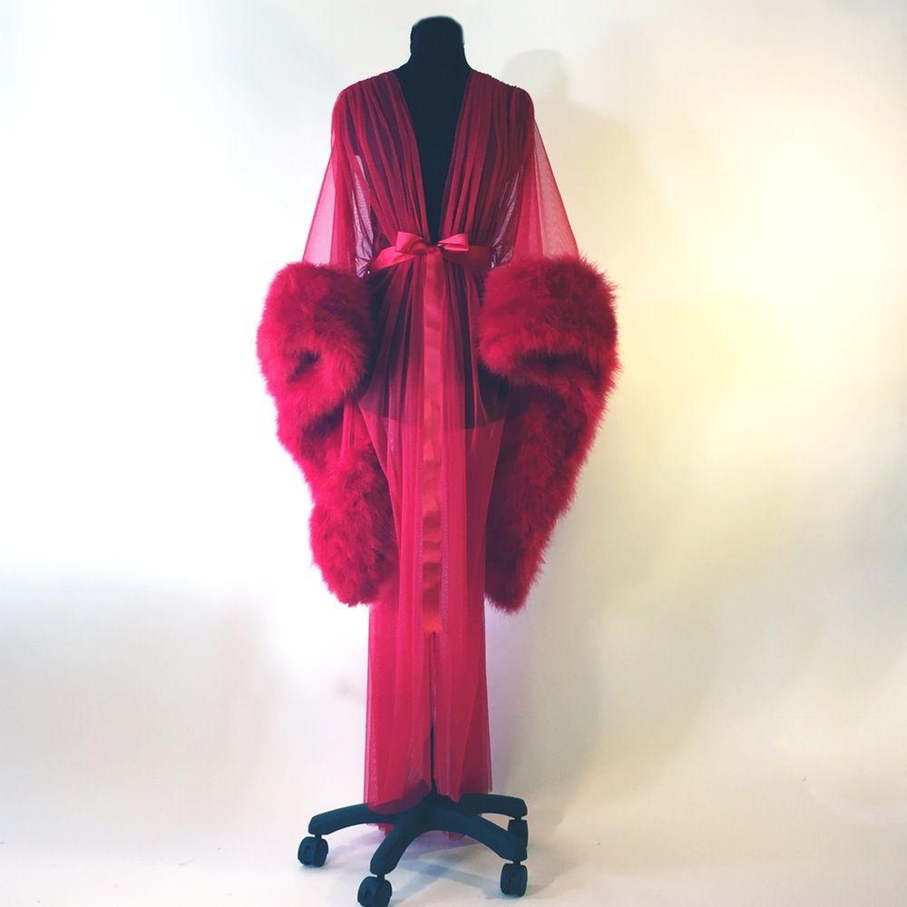 Lush Vintage-Style Marabou-trimmed