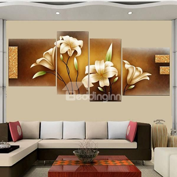 Stunning Home Office Decoration Lily 4 Piece Wall Art Prints Decor Wall Art Prints Online Wall Art