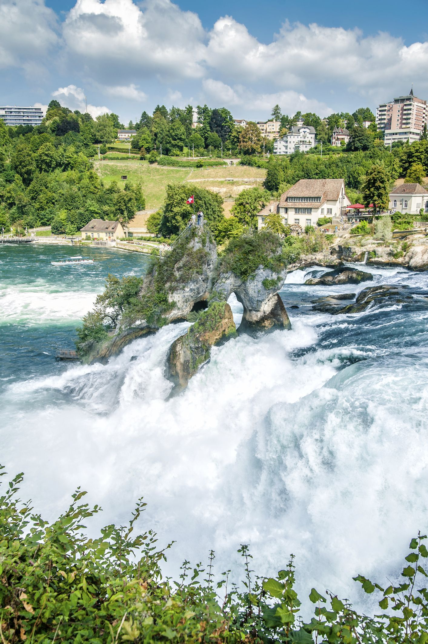 The Rhine Falls, Europe's largest water falls, are a major tourist attraction in northern Switzerland. Situated at Neuhausen am Rheinfall, near the city of Schaffhausen, they are easily reached from Winterthur in 25 minutes (by train) and from Zurich in one hour. #switzerlandtravel