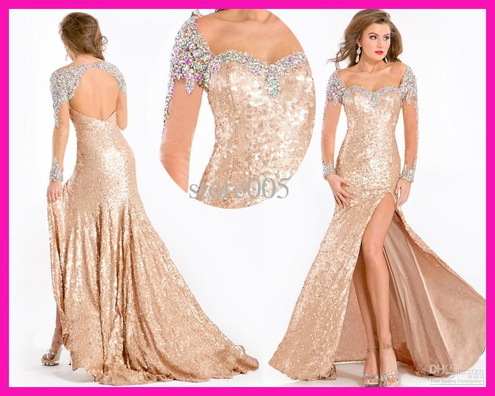 Long sleeve gold evening dresses | Color dress | Pinterest | Gold ...