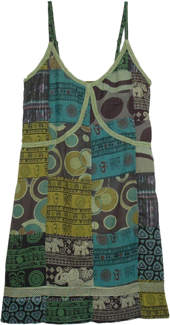 Sleeveless Summer Yogi Dress in Hippie Green Patchwork in Cotton