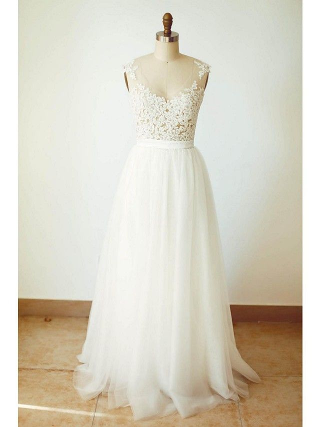 A-line Wedding Dress Floor-length V-neck Tulle with Appliques / Button / Sash / Ribbon - USD $109.99