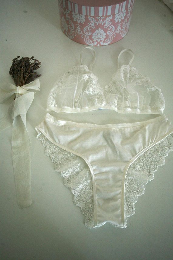 7b55c1c616 Alisons - White velour and lace lingerie set