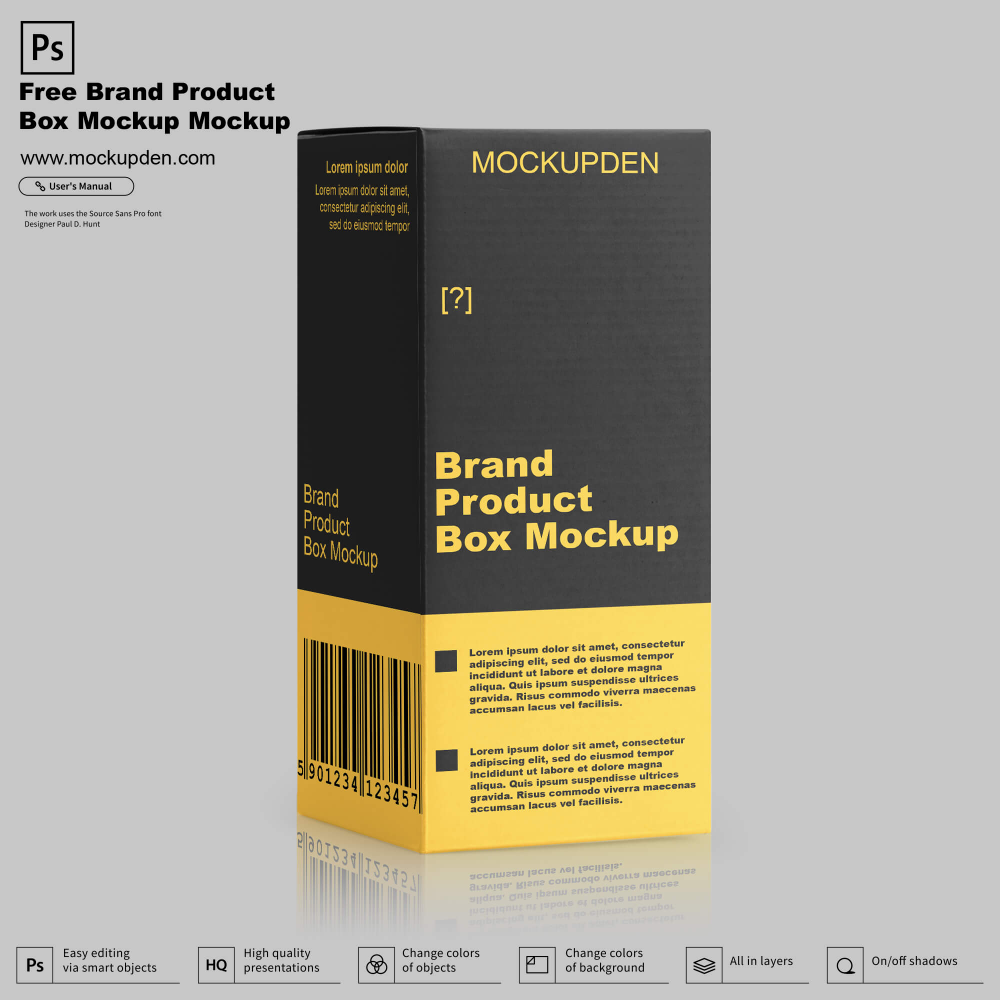 Download Free Brand Product Box Mockup Psd Template Beautiful And Classic Designer Boxes Are Using For Many Purposes In This Post Box Mockup Mockup Psd Psd Templates
