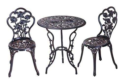 Merax 3 Piece Cast Aluminum Patio Furniture Outdoor Bistro