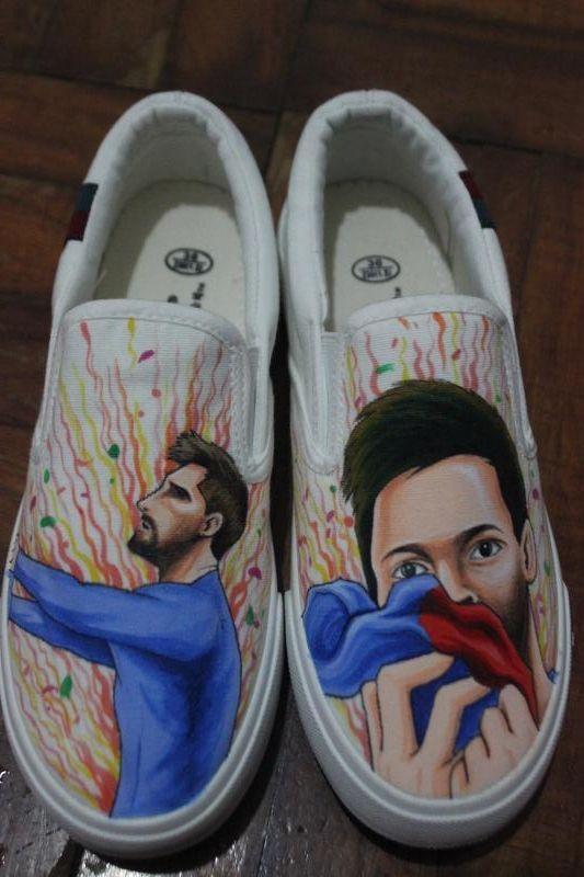 aae570c5fb Slip On Shoes Design Custom Messi Canvas Sneakers