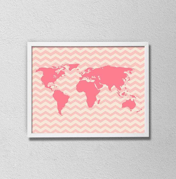 Pink chevron world map nursery art baby girl by samssimpledecor pink chevron world map nursery art baby girl by samssimpledecor 1500 gumiabroncs Choice Image