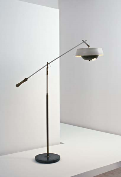 Angelo Lelli; Painted Metal, Marble, Brass and Plastic Floor Lamp for Arredoluce, 1950s.