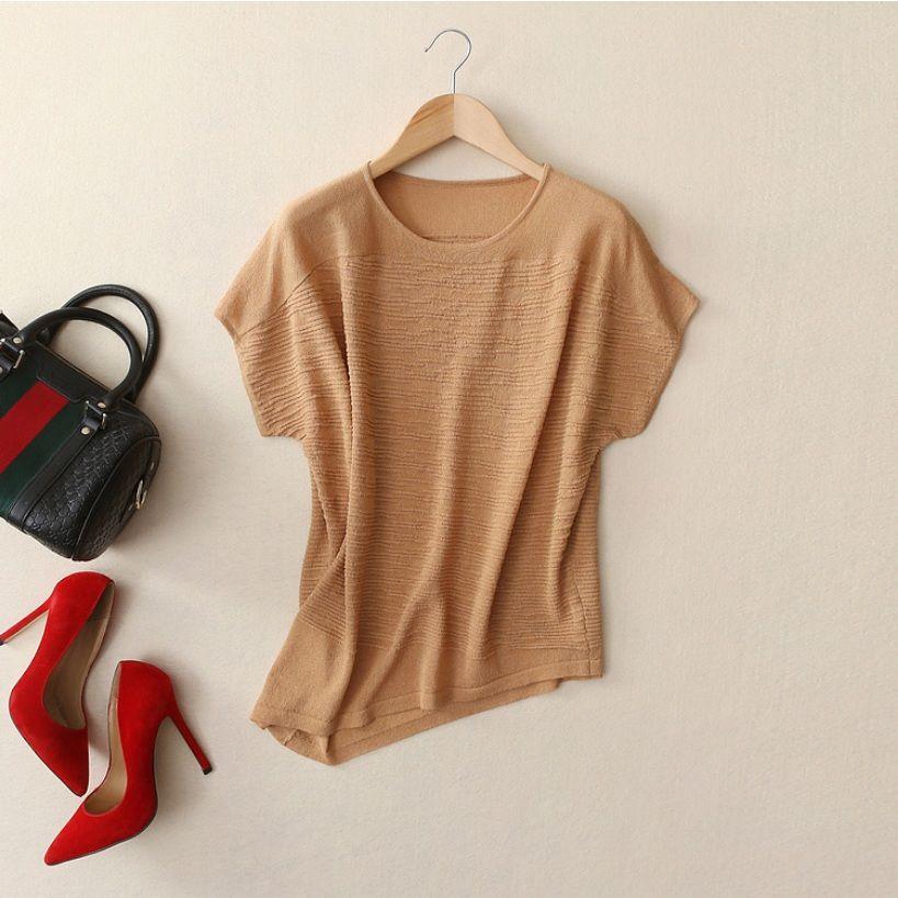 Women Fashion Knitted T-shirt 2017 Summer Slim Short Sleeve Tops Irregular Hem Tops Tees