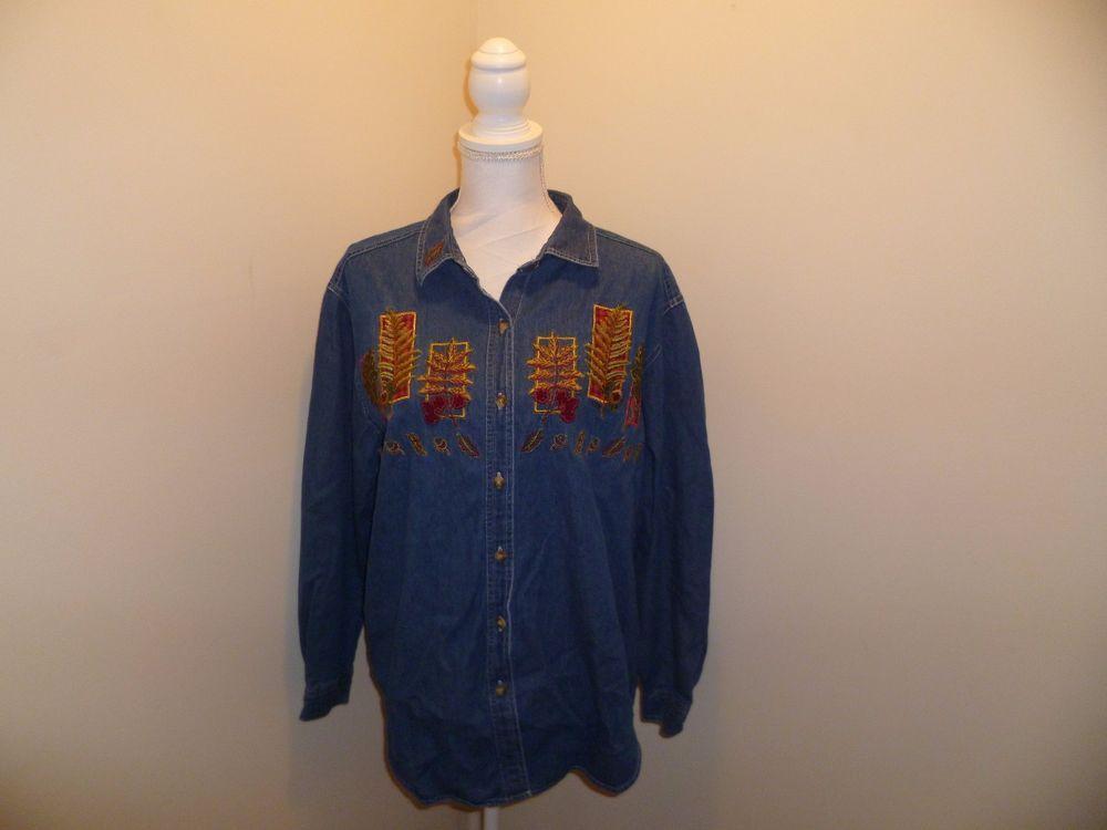 Attrayant Womenu0027s Cabin Creek Shirt   Size L   Denim   Embroidered Leaf Pattern    Cotton