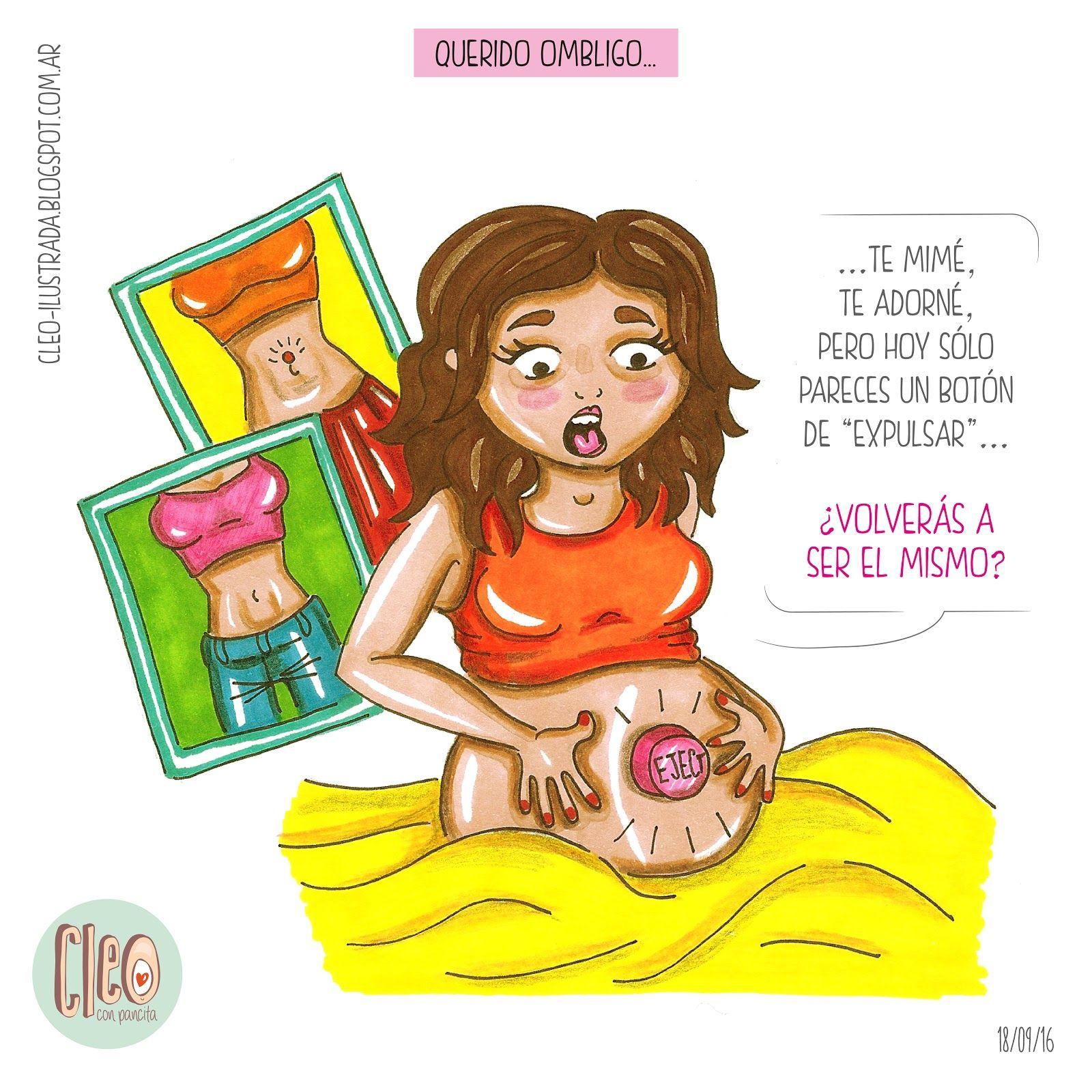 Querido Ombligo Embarazo Embarazo Divertido Embarazada Caricatura