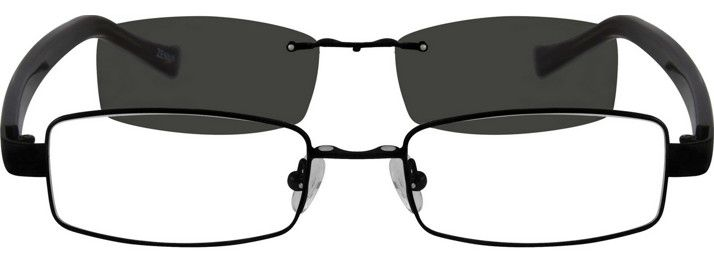 1ed1fcfc9c Men s Black 5869 Metal Alloy Frame with Polarized Magnetic Snap-on Sunlens  and Designer Acetate Temples