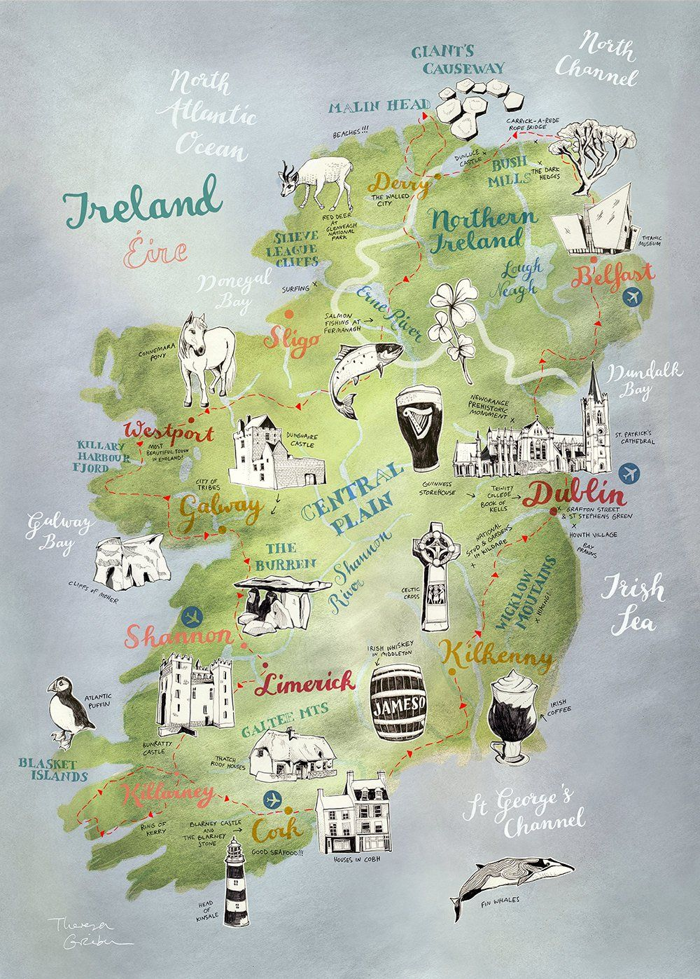Carte Dirlande De Grande Impression Affiche Dirlande Grand Etsy Ireland Map Road Trip Map Ireland Road Trip