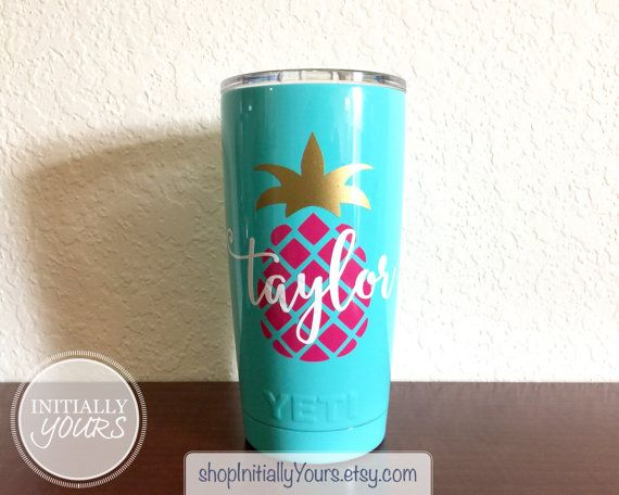 Personalized pineapple decal for yeti 20oz pineapple vinyl decal yeti tumbler decal yeti