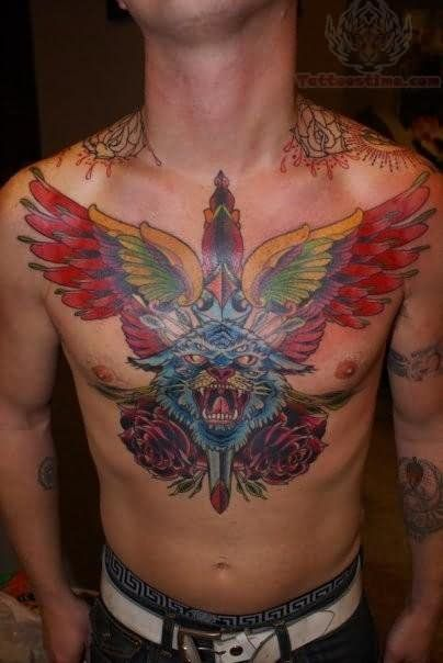winged dagger and leopard tattoo on chest | tattoo ...