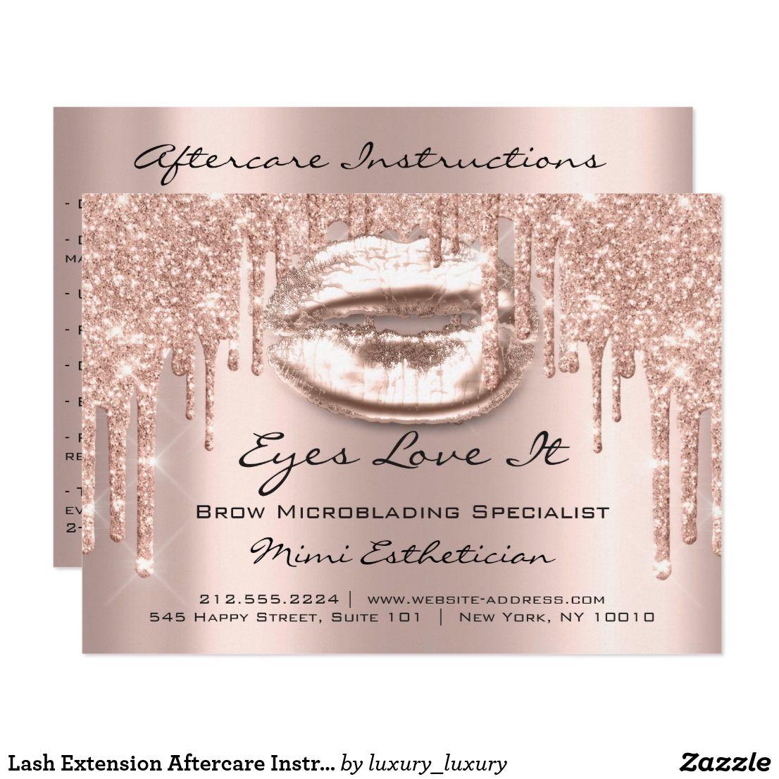 Lash Extension Aftercare Instruction Spark Kiss Invitation
