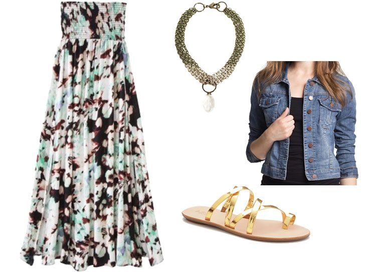 Styling a strapless maxi dress, via Shopping's My Cardio