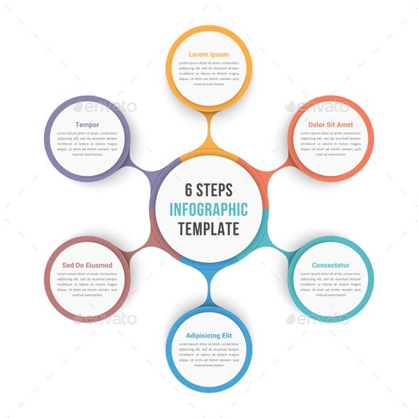 Circle Infographic Template with Six Elements Circle infographic - flowchart templates word
