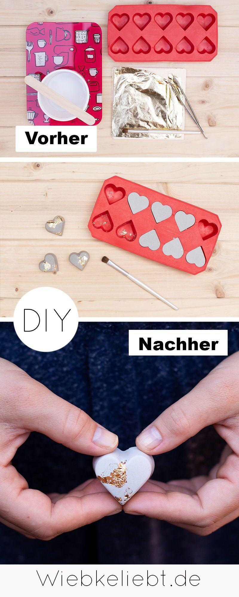 DIY Beton Herzen mit Blattgold – Tischdeko zur Hochzeit | DIY Blog | Do-it-yourself Anleitungen zum