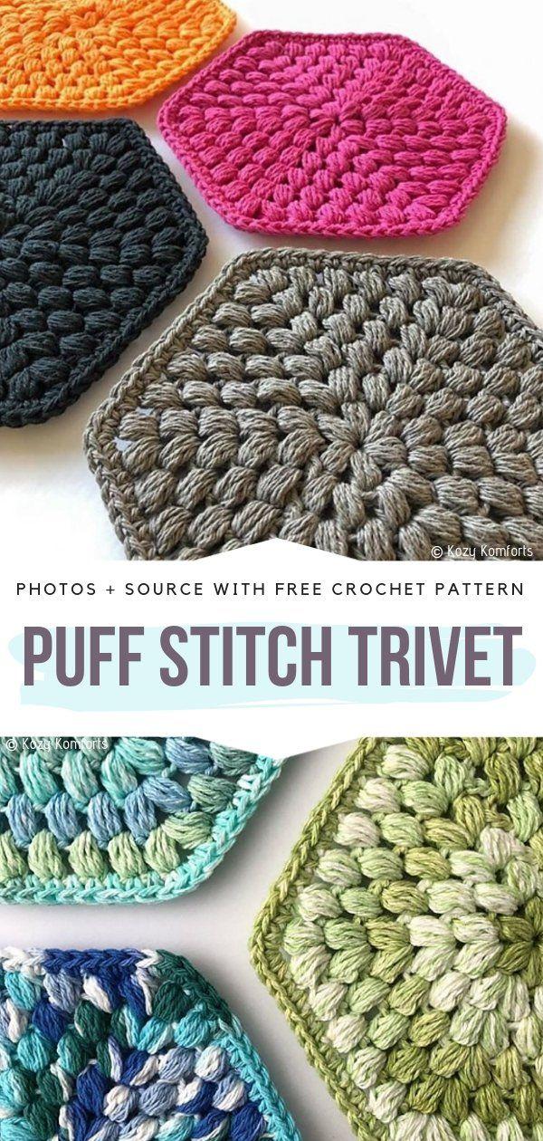 Crochet Puff Stitch Ideas Free Patterns #crochetpotholderpatterns