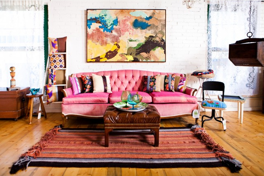 Add Color Without Paint: Saturated Seating | Pink couch, Pink sofa ...