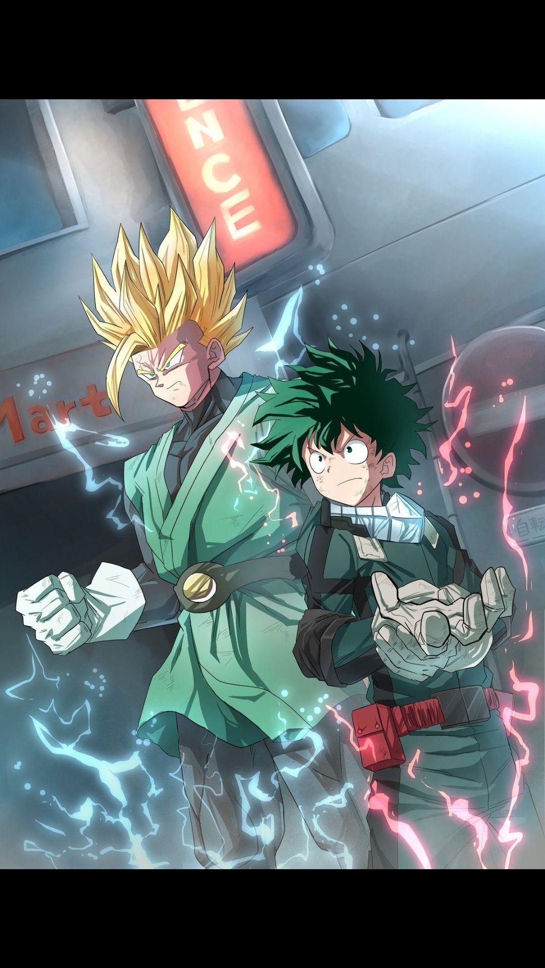 Dragon ball z x my hero academia ssj2 son gohan and izuku midoriya