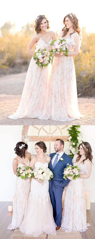 Aline spaghetti straps floorlength pearl pink lace bridesmaid