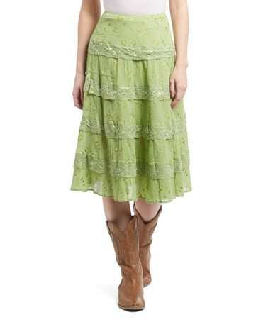 This Green Embroidered Tiered A-Line Skirt is perfect! #zulilyfinds