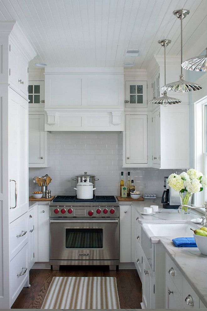 size of kitchen is approx. 9′ x 16′. the white subway tile from