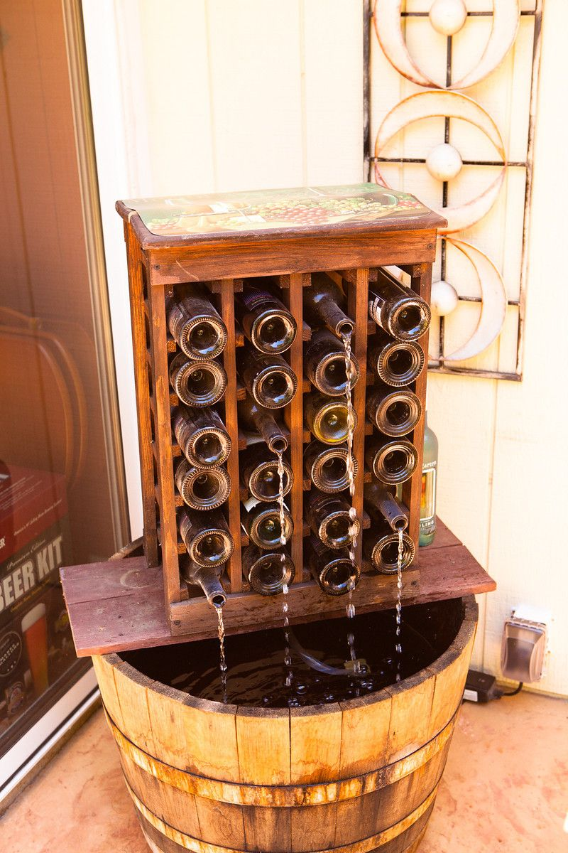 Homemade wine bottle fountain Reclaimed