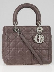4e1c90cf33d Christian Dior Grey Cannage Quilted Lambskin Leather Medium Lady Dior Bag