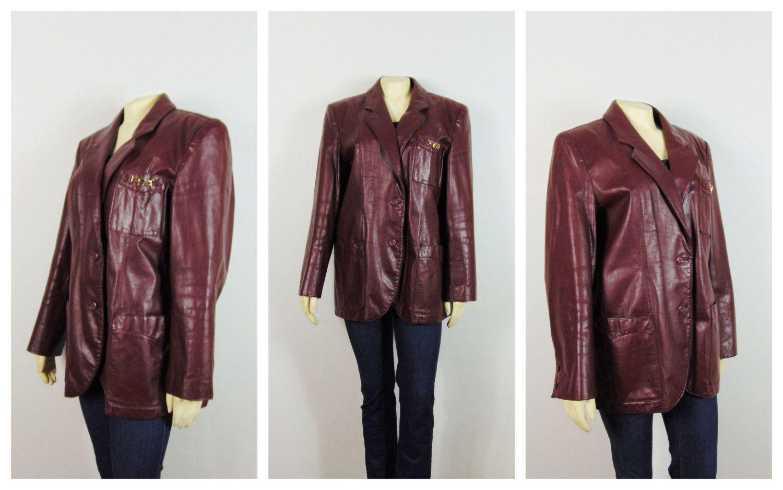 Leather jacket size 18 - Vintage Leather Coat Etienne Aigner Leather Jacket Burgundy Blazer Size 18 Modern Size Xl 1x