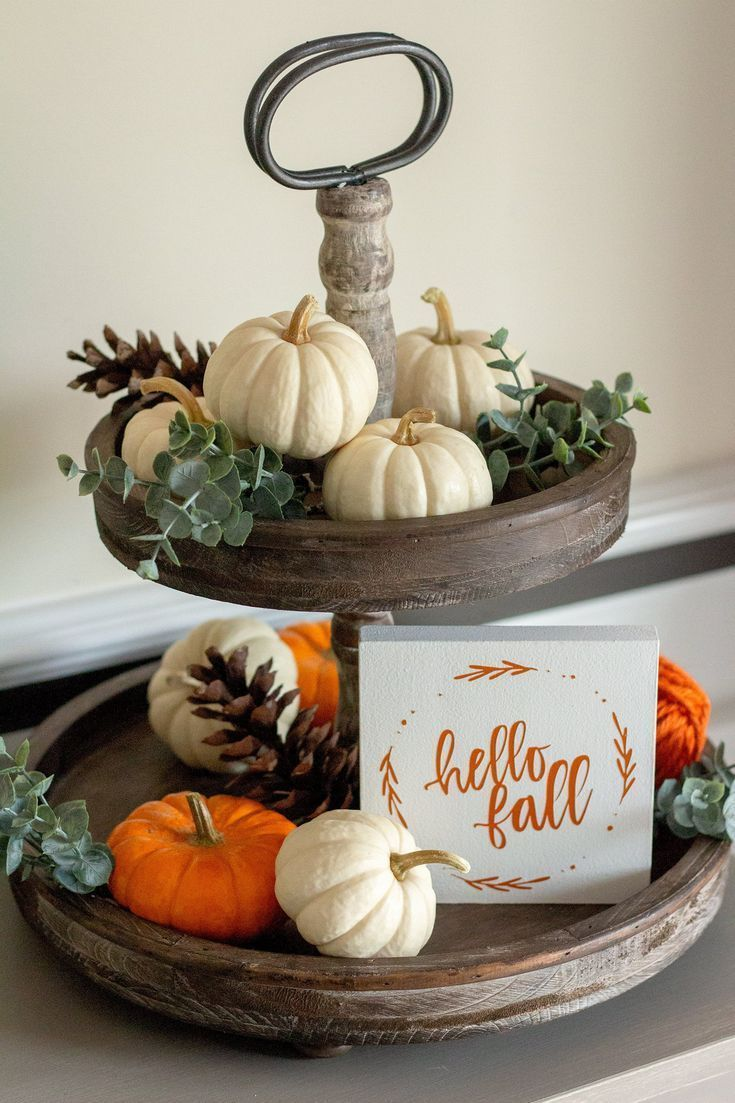 Fall Table Decor-Tiered Tray Fall Decor-Hello Fall Wreath Mini Sign-Fall Home Decor-Wall Decor-Mini Hello Fall Sign-Thanksgiving Decor #thanksgivingdecorations