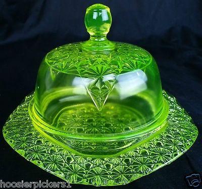 Vaseline Glass Daisy Button Queen's Pattern Butter Dish, Uranium Glass