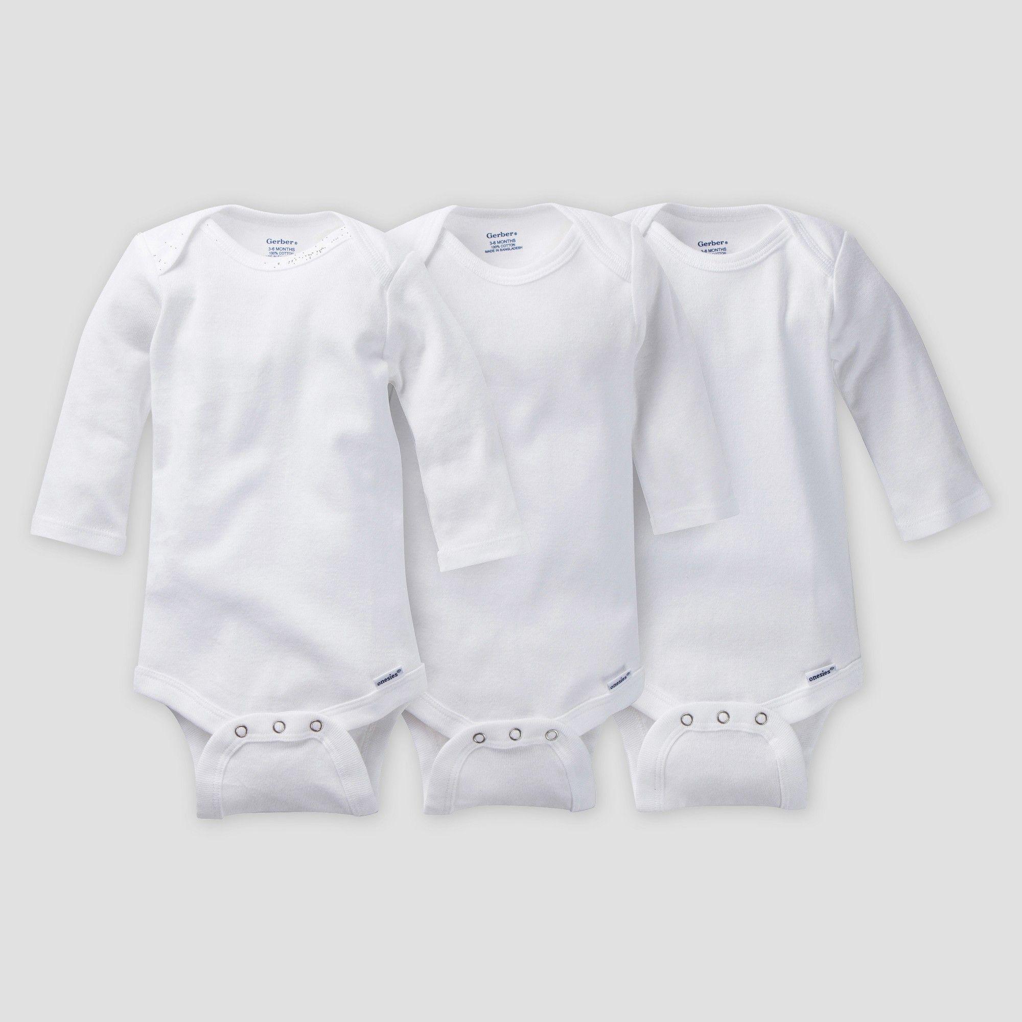 White GERBER Baby Boy or Girl Unisex Organic Cotton 3-Pack Long Sleeve Onesies