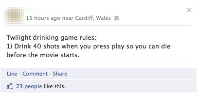 The Most Appropriate Twilight Drinking Game Imgur Drinking Game Rules Funny Facebook Status Drinking Games