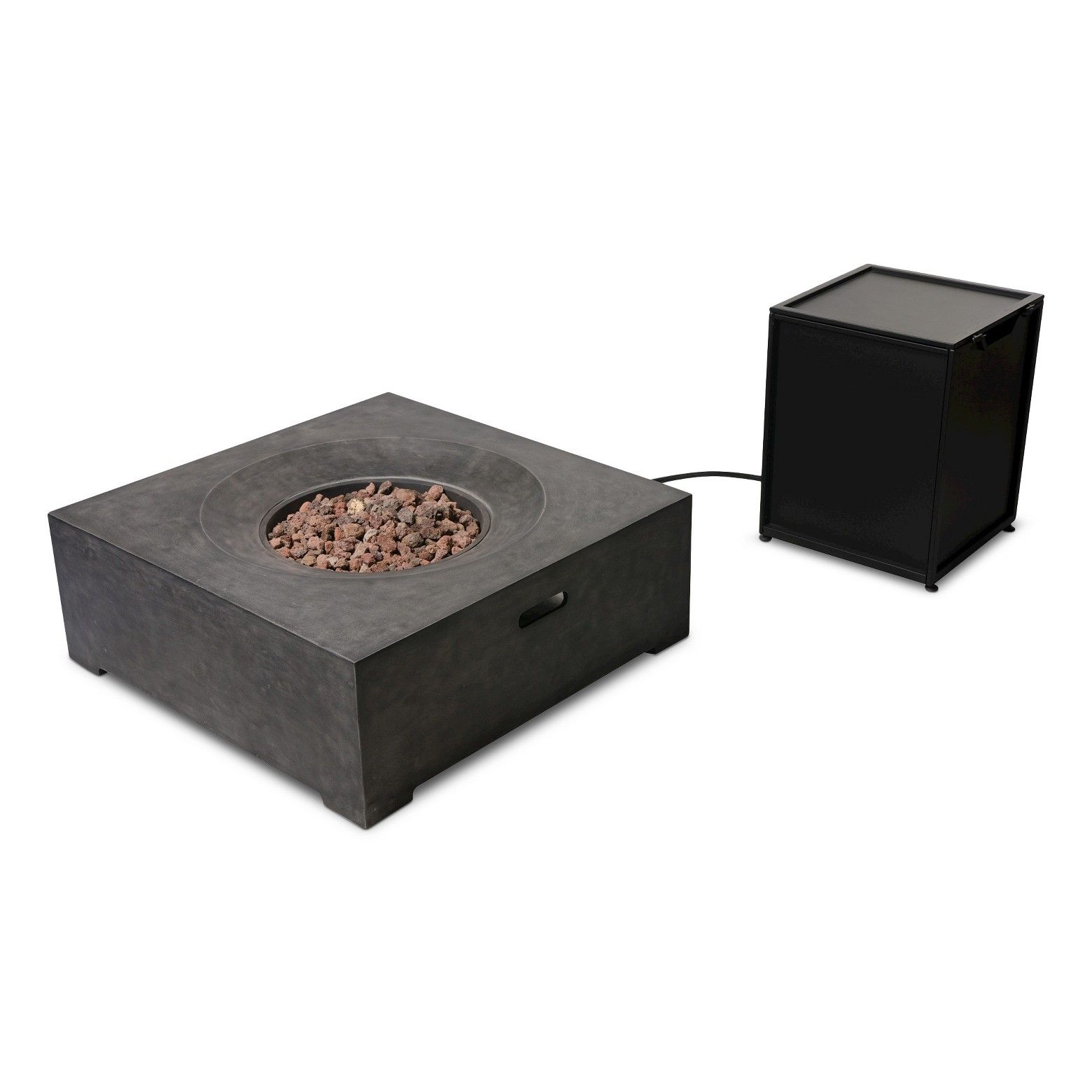 With Clean Lines And Flat Surfaces The Ashlake 36 Rdquo Square Fire Table Offers A Contemporary Twist To Your Patio Outdoor Fire Pit Fire Table Outdoor Fire