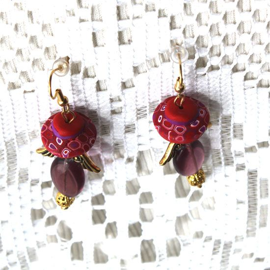 Red hat angel earrings,  wires ,leverbacks,posts and clips for the ladies who do not have pierced ears.