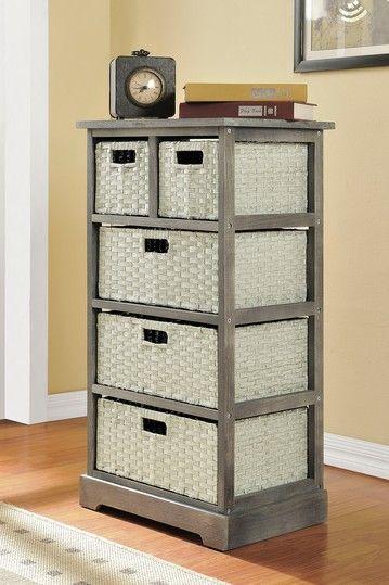 Grey Storage Unit With 5 Baskets Wood Storage Shelves Altra