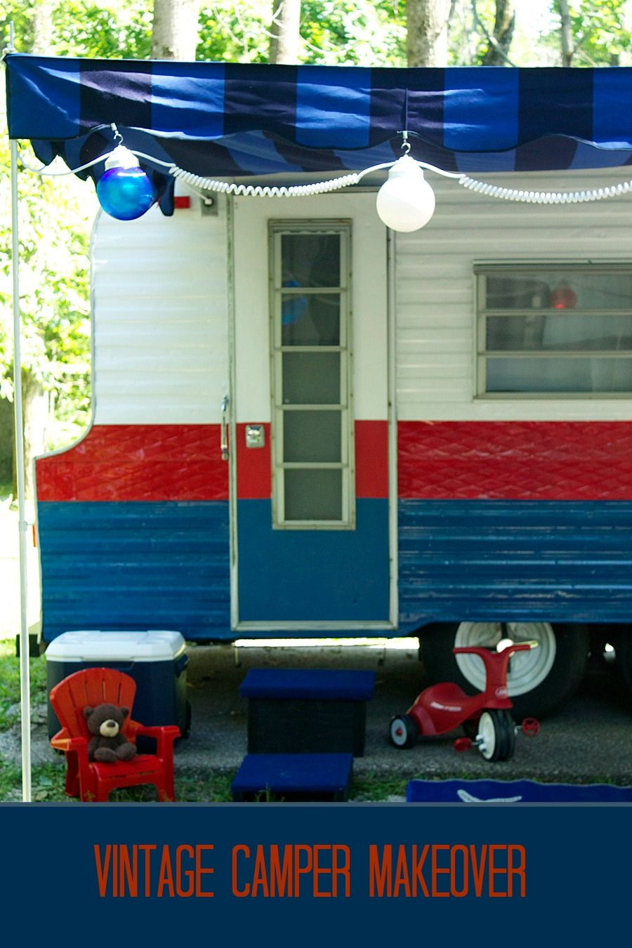 vintage camper, vintage camper makeover, camper, camping, laurie jones home, diy camper, red and white camper, decorating a camper, summer camping, glamping