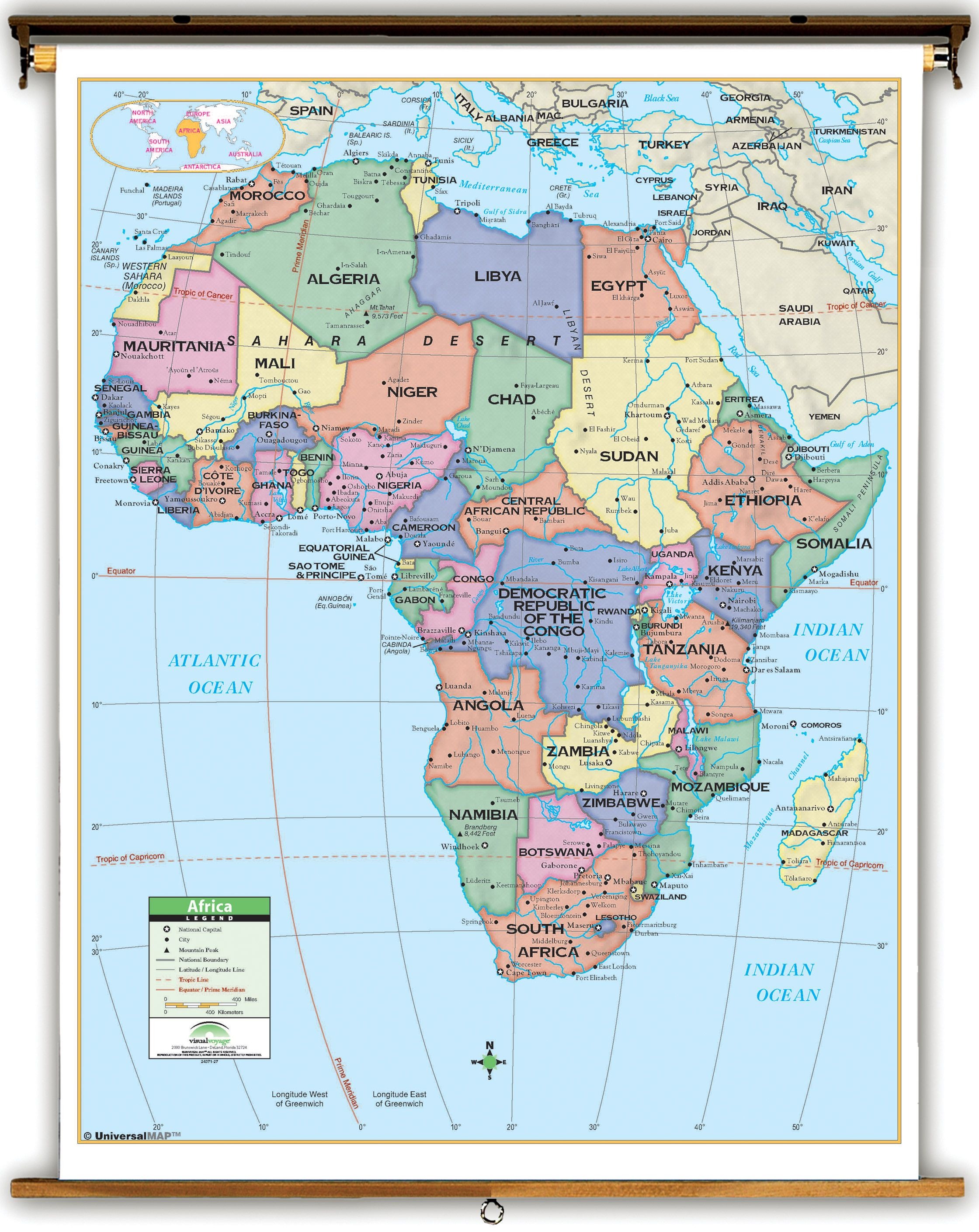 outline map of africa with latitude and longitude primary africa politicalclassroom map on spring roller  outline map of africa with latitude and . pin by zuzana kukučová on geografia  pinterest  outlines