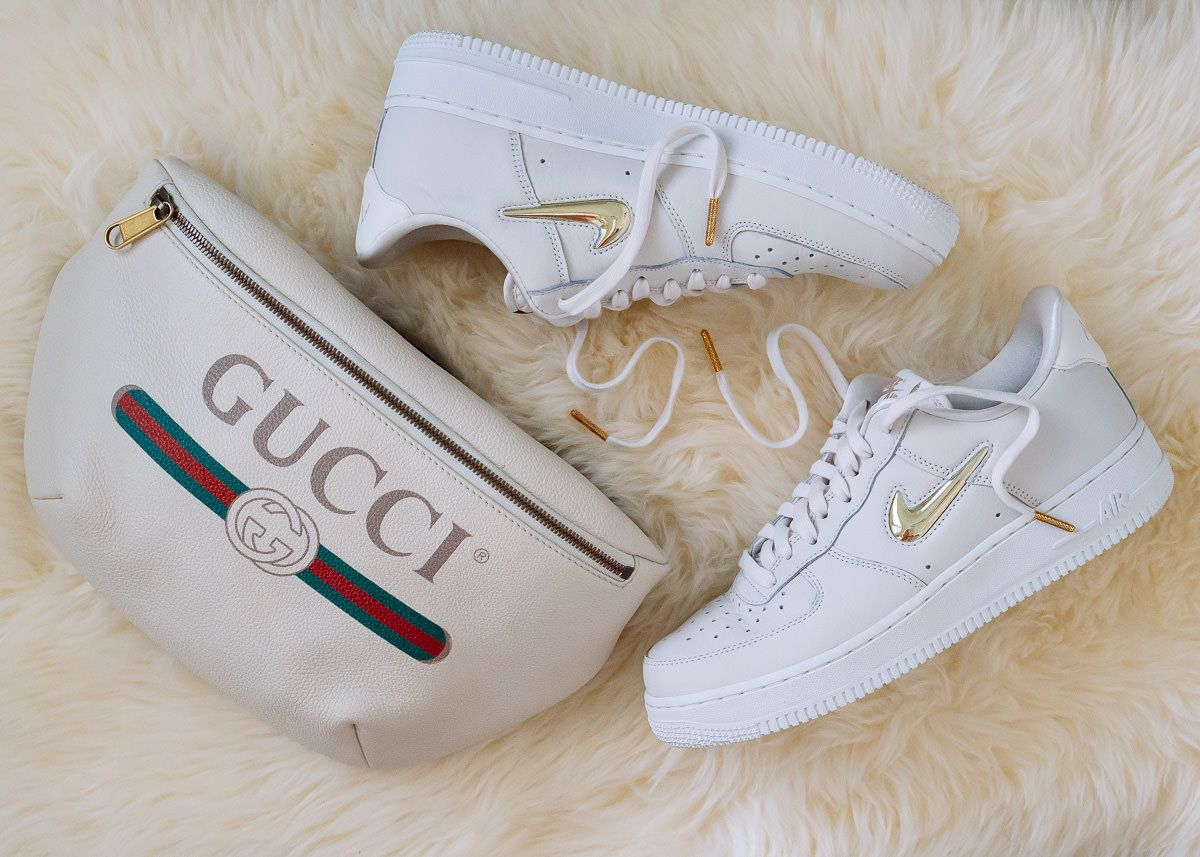Perfect Pairs Gucci Printed Belt Bag and Nike Air Force 1