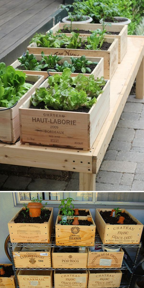 Vanhat puulaatikot hyötykäyttöön parvekepuutarhaan! / Use old wooden boxes to create a balcony garden. Pinned from another user.
