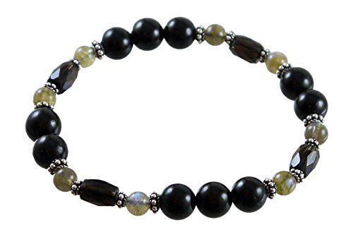 Black Tourmaline Bracelet with Smoky Quartz, Labradorite , 7 1/2, Sterling Silver Stretch Bracelet *** More info could be found at the image url.