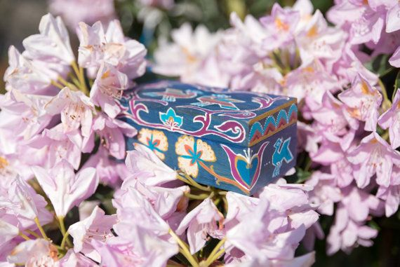 Hand painted wooden box Boho oriental folk design by MarionStudio