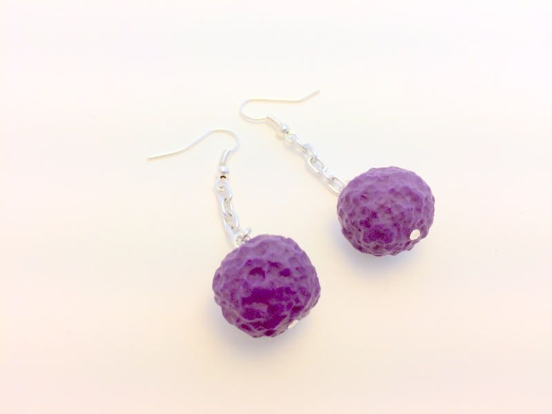 Purple Crunch Berry Polymer Clay Handmade Beads and Silver Chain Drop Earrings by PennysLane on Etsy