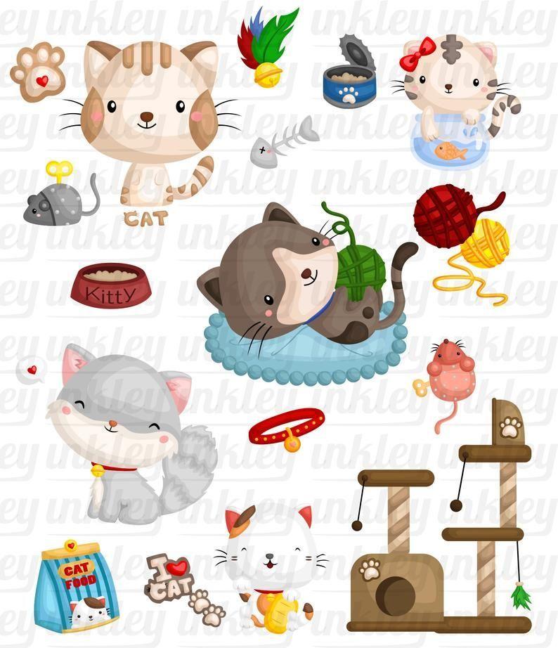 Cute Cats Clipart Feline Animal Clip Art Home Pet Free Etsy In 2021 Cat Clipart Cute Animal Clipart Animal Clipart Free